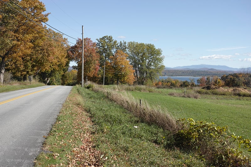 Rolling hills and lake views on South Hero Island