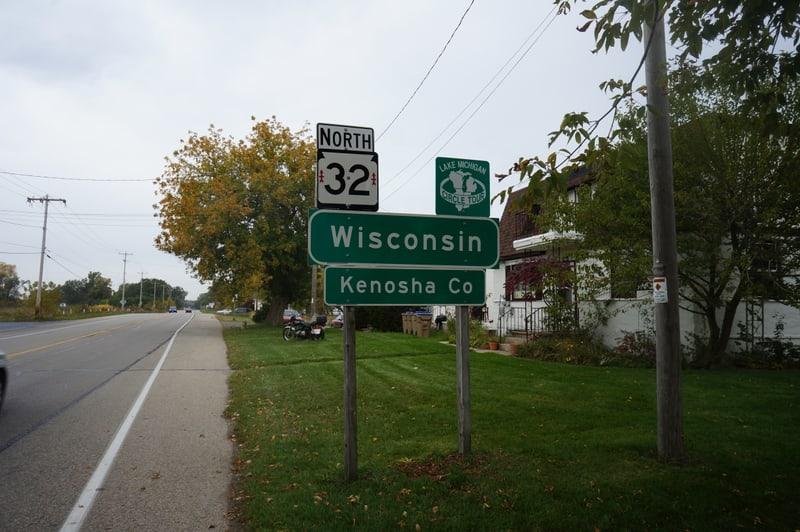 Wisconsin southern border looking north along Sheridan Road