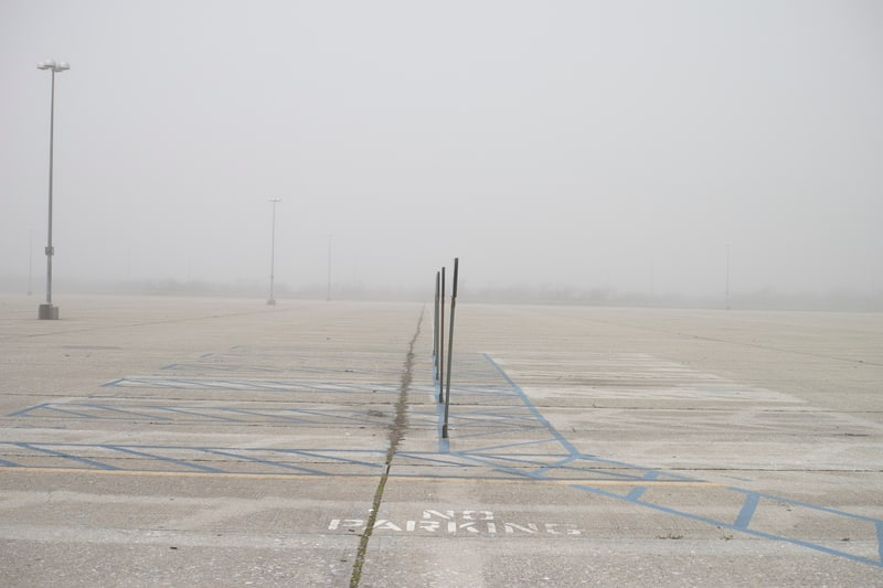 One of many empty parking lots